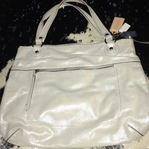 Coach Leather Light Blue Shimmer Large Purse